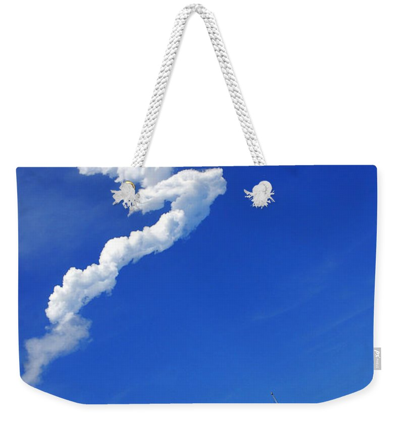 Science Weekender Tote Bag featuring the photograph Up Up To The Sky - The Shuttle Is Gone by Susanne Van Hulst