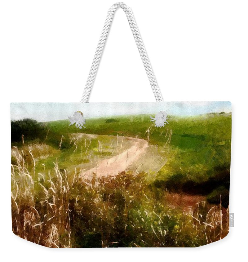 Autumn Weekender Tote Bag featuring the painting Uphill Curve by RC DeWinter