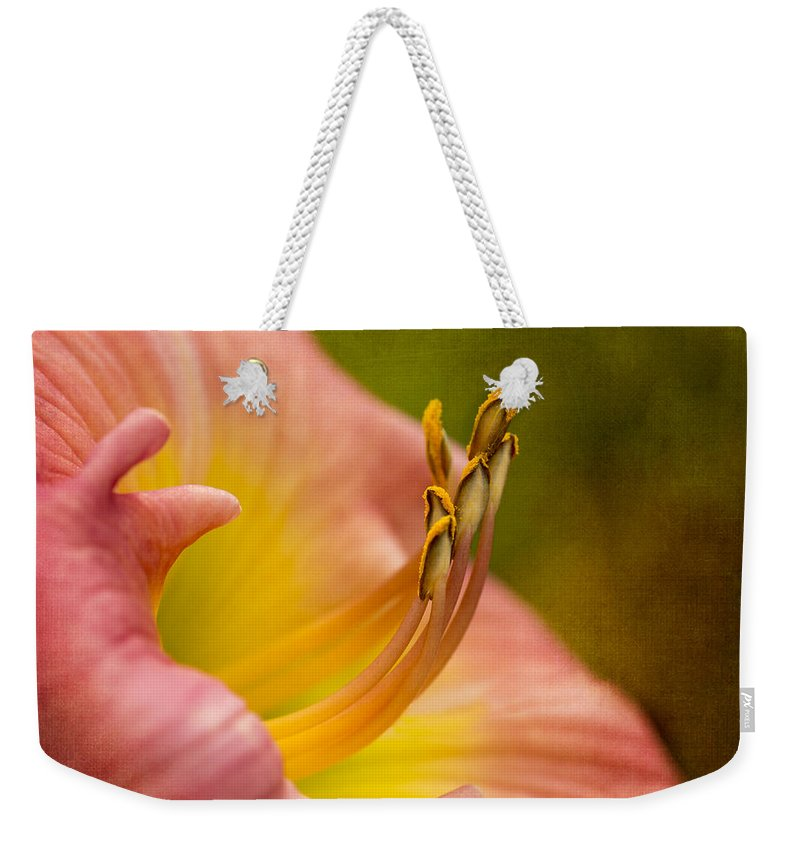 Lily Weekender Tote Bag featuring the photograph Uplifting Lily by Mary Jo Allen