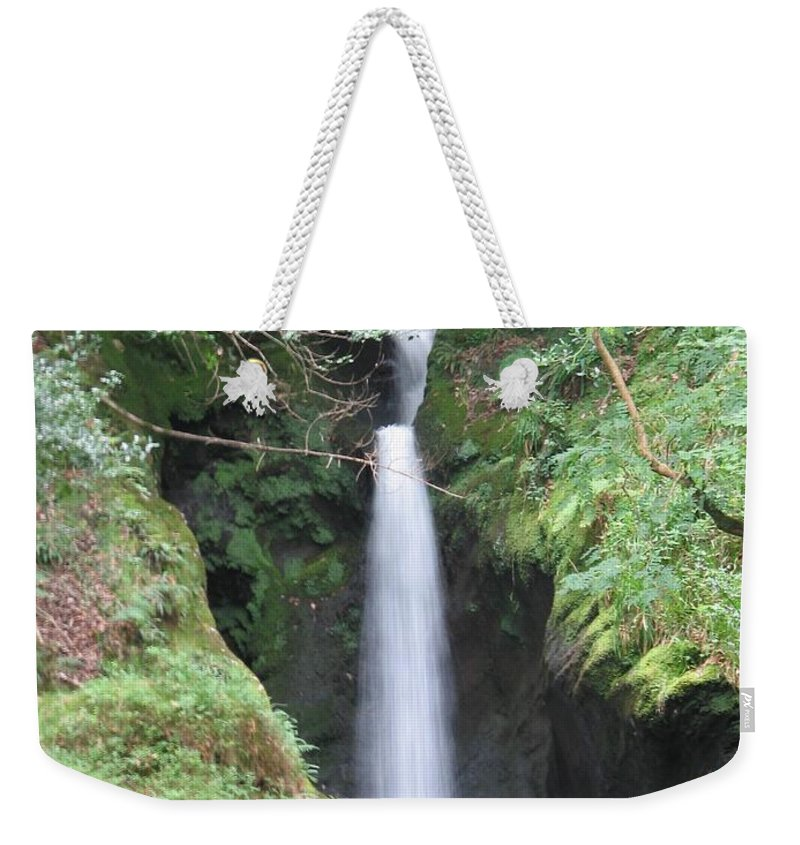 Glendalough Weekender Tote Bag featuring the photograph Upper Falls by Kelly Mezzapelle