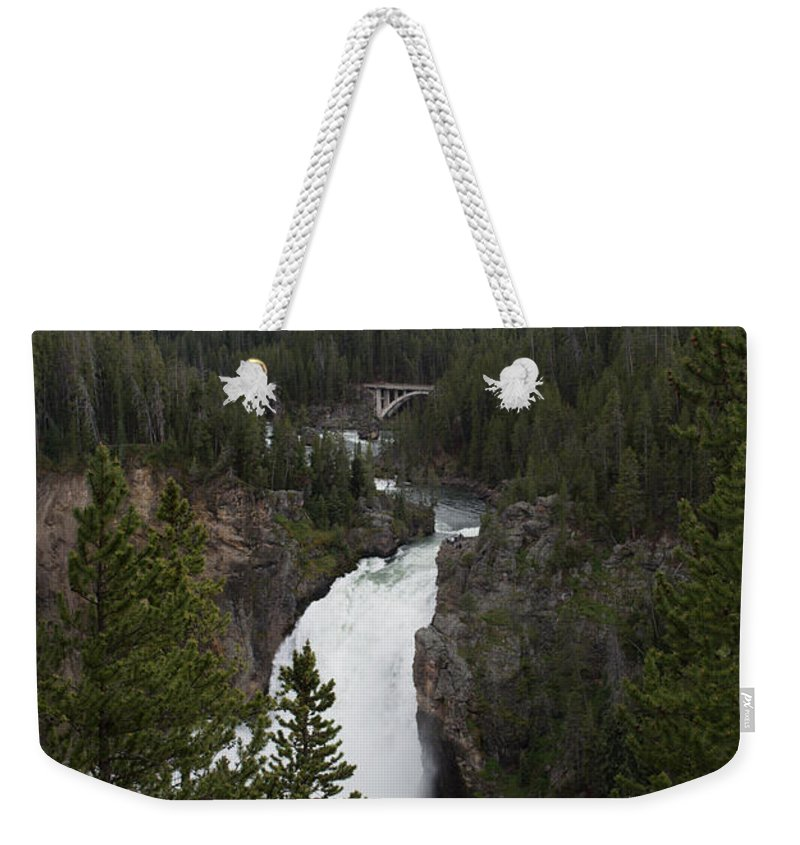 Yellowstone National Park Weekender Tote Bag featuring the photograph Upper Falls by Linda Kerkau