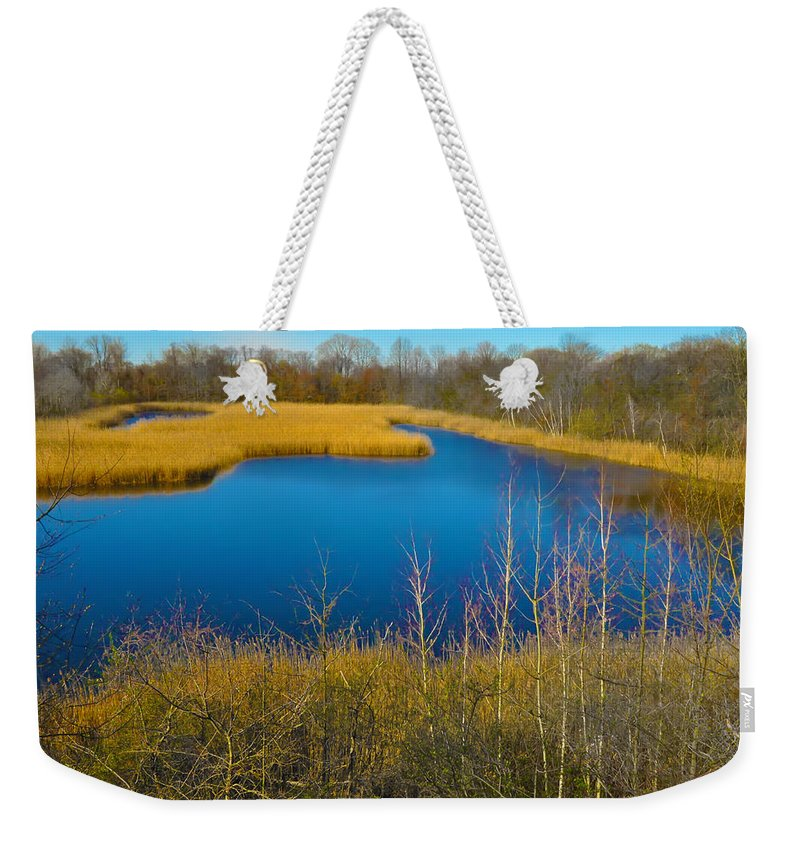 Philadelphia Weekender Tote Bag featuring the photograph Upper Roxborough Reservoir by Bill Cannon