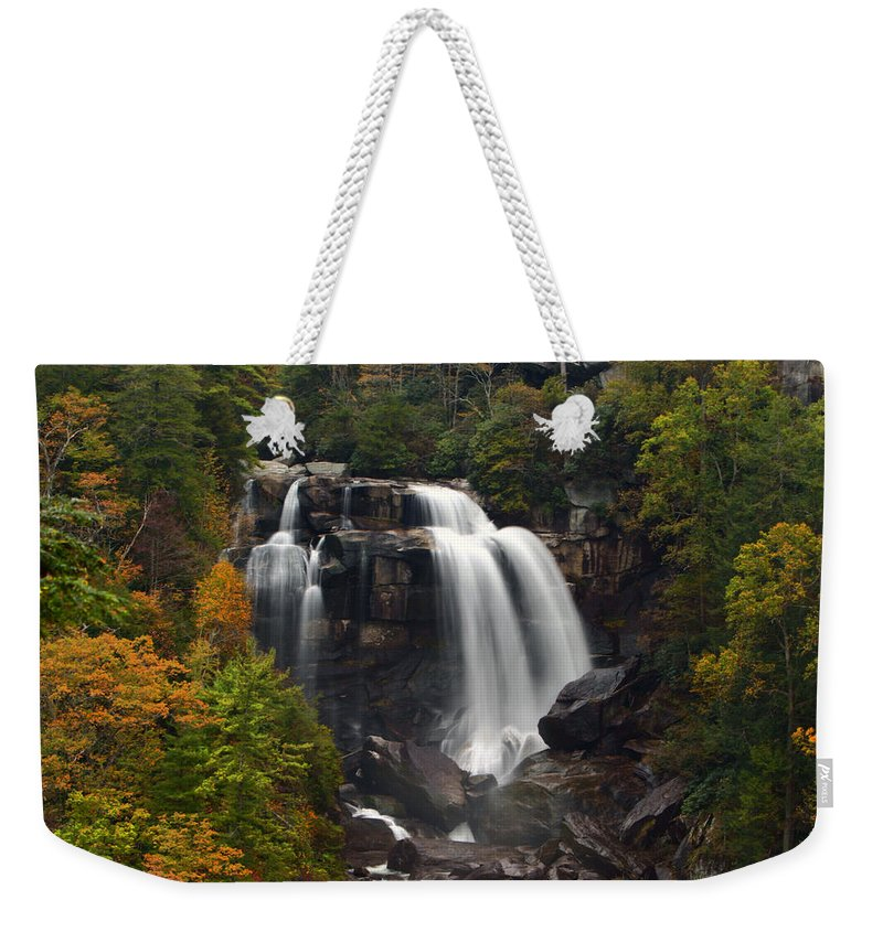 Water Waterall Flowing Stream Creek Fall Autumn Nature Landscape Photograph Photography North Carolina Weekender Tote Bag featuring the photograph Upper Whitewater Falls - Nc by Shari Jardina