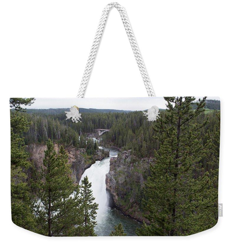 Yellowstone National Park Weekender Tote Bag featuring the photograph Upper Yellowstone Falls by Linda Kerkau