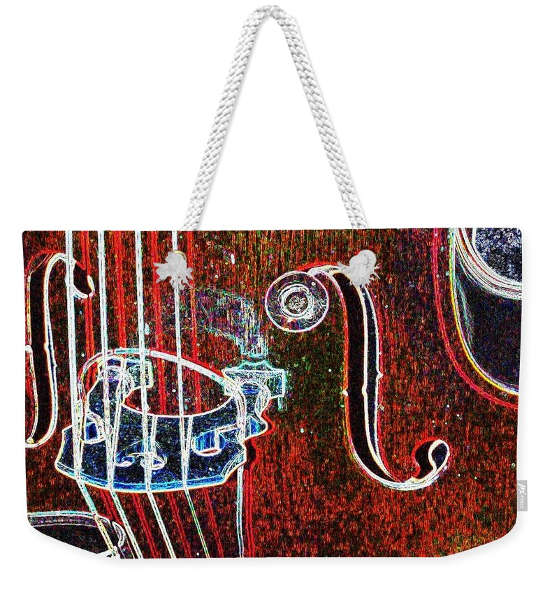 Upright Bass Weekender Tote Bag featuring the digital art Upright Bass Close Up by Anita Burgermeister