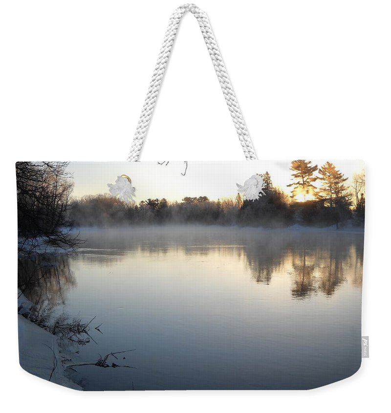 Sunrise Weekender Tote Bag featuring the photograph Upstream Mississippi River After Ice Out by Kent Lorentzen