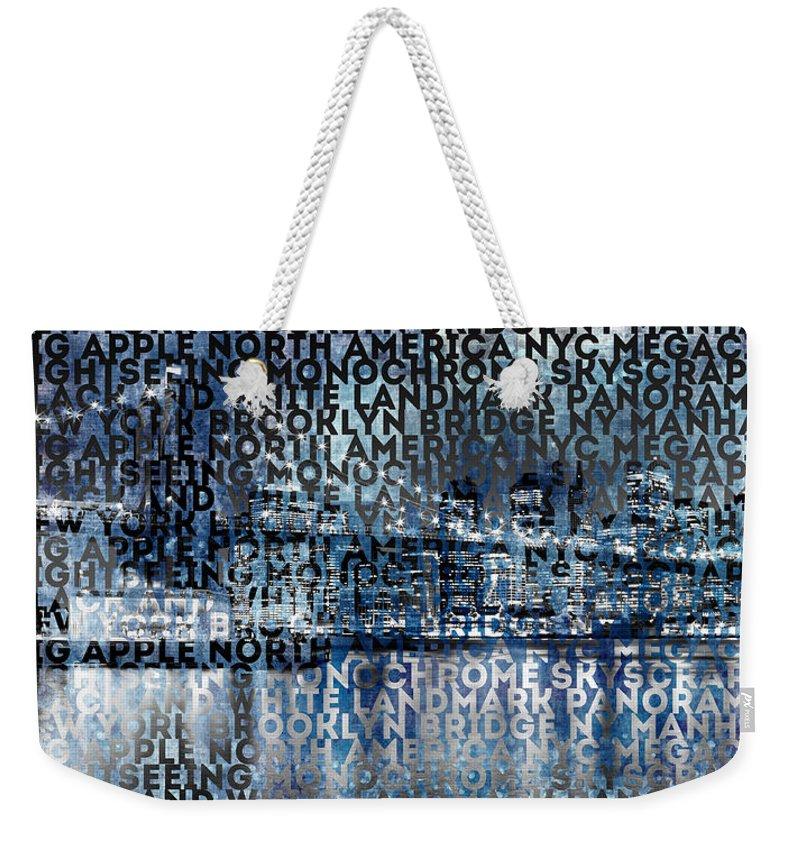 Abstract Weekender Tote Bag featuring the photograph Urban-art Nyc Brooklyn Bridge I by Melanie Viola