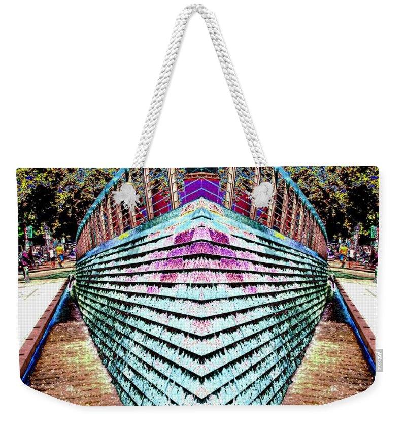 Seattle Weekender Tote Bag featuring the digital art Urban Confluence by Tim Allen