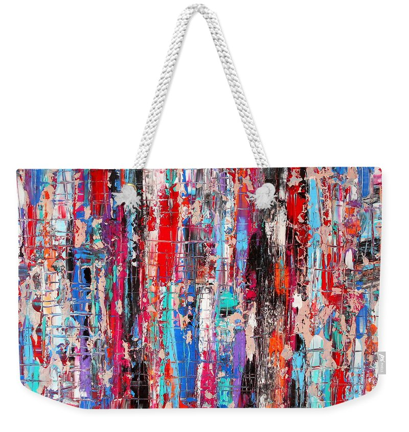 Layers Weekender Tote Bag featuring the painting Urban Decay 1 by Angie Wright