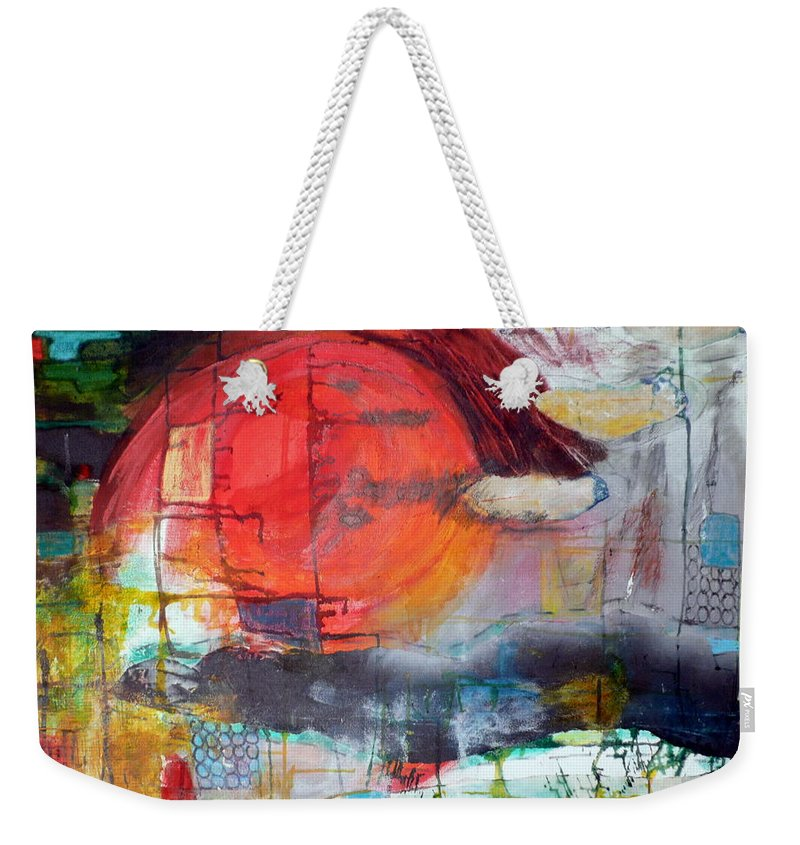 Abstract Landscape Weekender Tote Bag featuring the mixed media Urban Myth by Jane Clatworthy