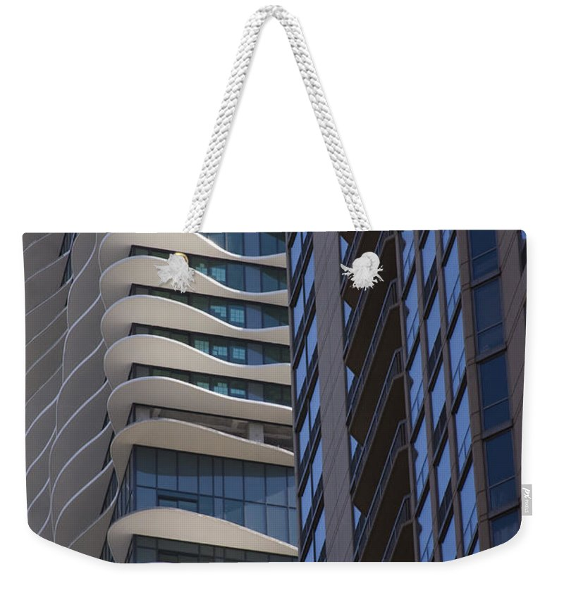Chicago City Wind Windy Sky Skyscraper Window Concrete Glass Tall High Urban Metro Weekender Tote Bag featuring the photograph Urban Patters by Andrei Shliakhau