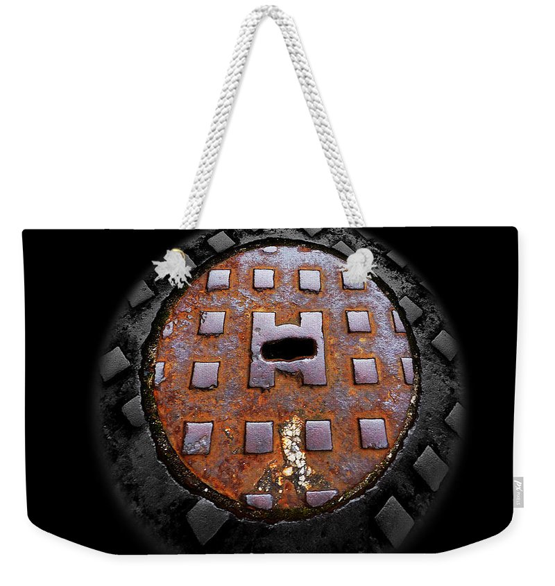 Manhole Weekender Tote Bag featuring the photograph Urban Voice Button by Charles Stuart