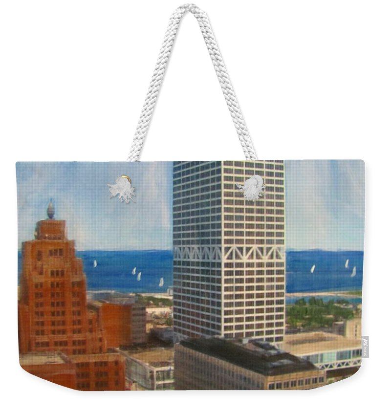 Milwaukee Weekender Tote Bag featuring the mixed media Us Bank And Sailboats by Anita Burgermeister