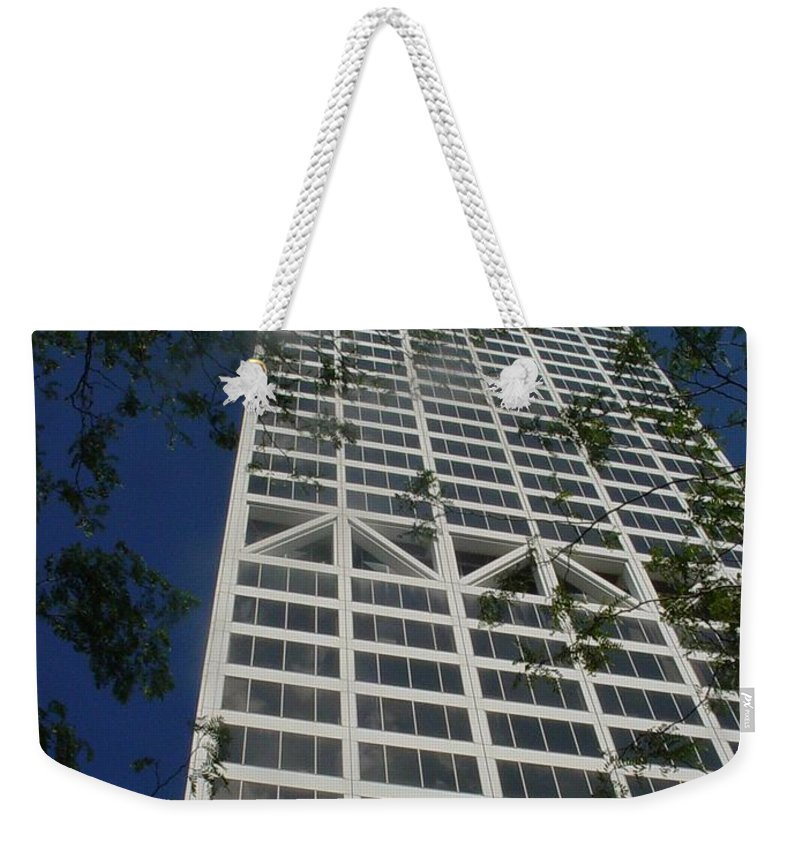 Us Bank Weekender Tote Bag featuring the photograph Us Bank With Trees by Anita Burgermeister