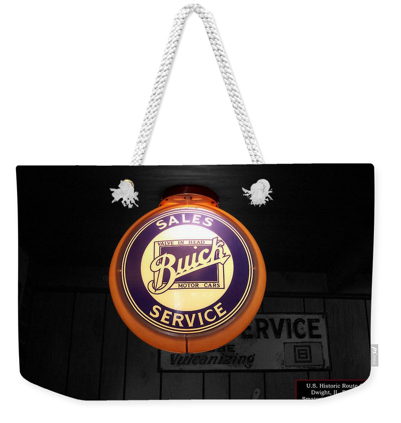 Route 66 Weekender Tote Bag featuring the photograph Us Route 66 Buick Sales Globe 02 Sc by Thomas Woolworth