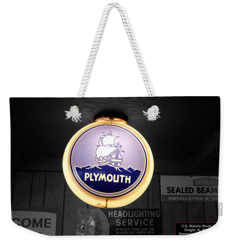 Route 66 Weekender Tote Bag featuring the photograph Us Route 66 Plymouth Sales Globe Sc by Thomas Woolworth