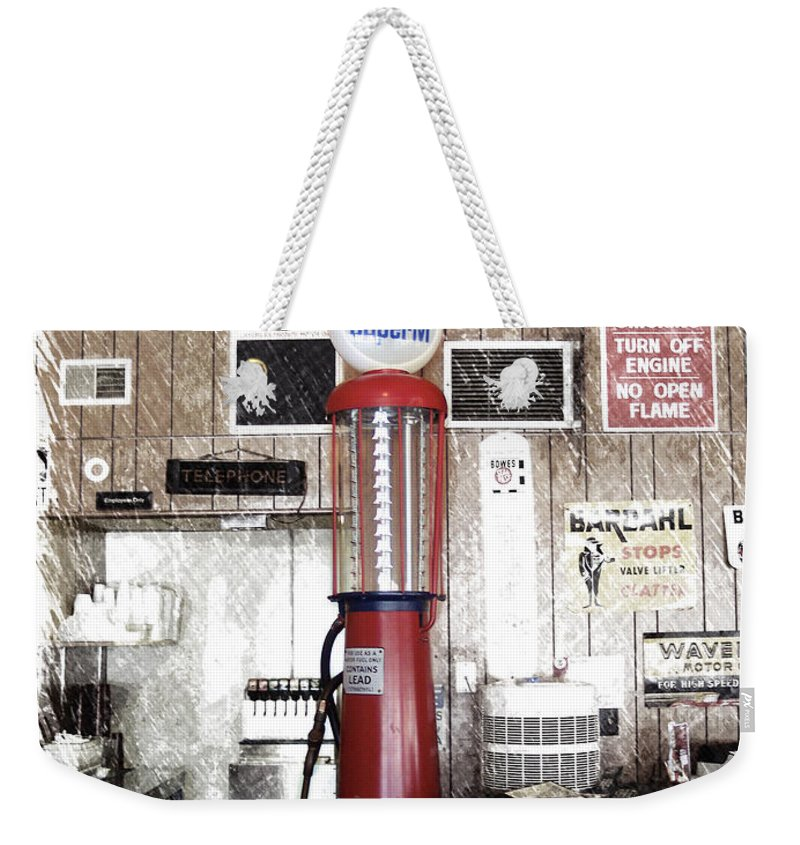 Mother Road Weekender Tote Bag featuring the photograph Us Route 66 Smaterjax Dwight Il Gas Pump 01 Pa 01 by Thomas Woolworth