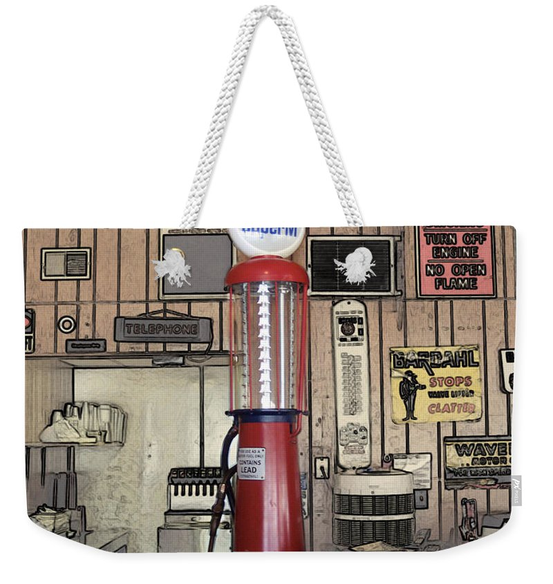 Mother Road Weekender Tote Bag featuring the photograph Us Route 66 Smaterjax Dwight Il Gas Pump 01 Pa 02 by Thomas Woolworth