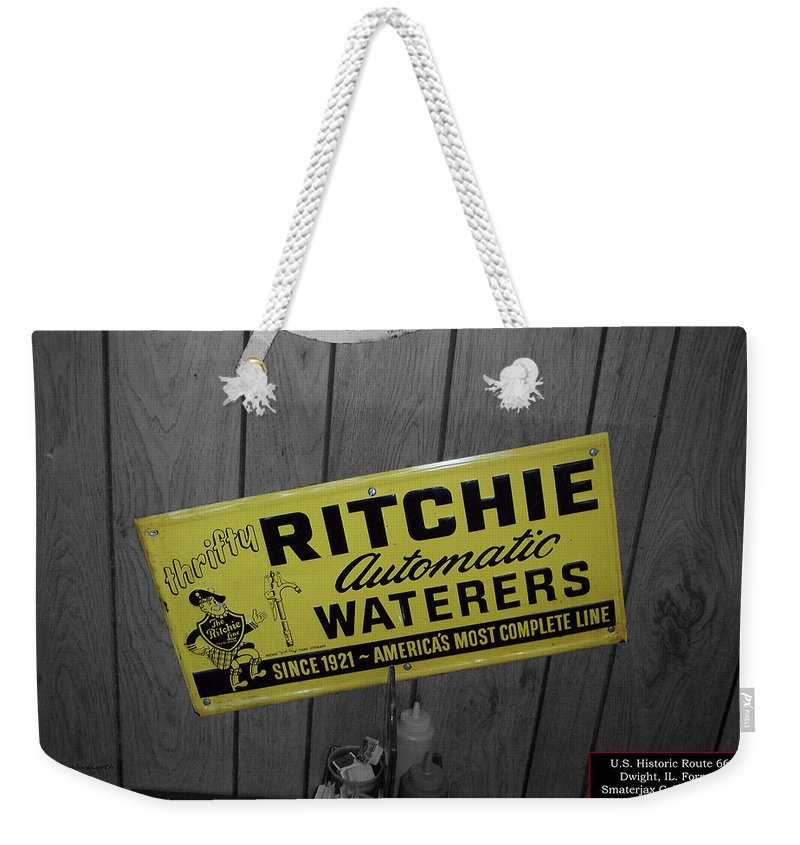 Signage Weekender Tote Bag featuring the photograph Us Route 66 Smaterjax Dwight Il Rare Waterers Signage by Thomas Woolworth