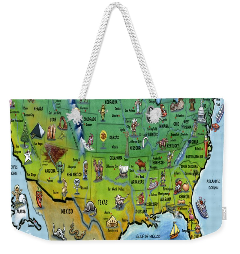 Map Weekender Tote Bag featuring the painting Usa Cartoon Map by Kevin Middleton