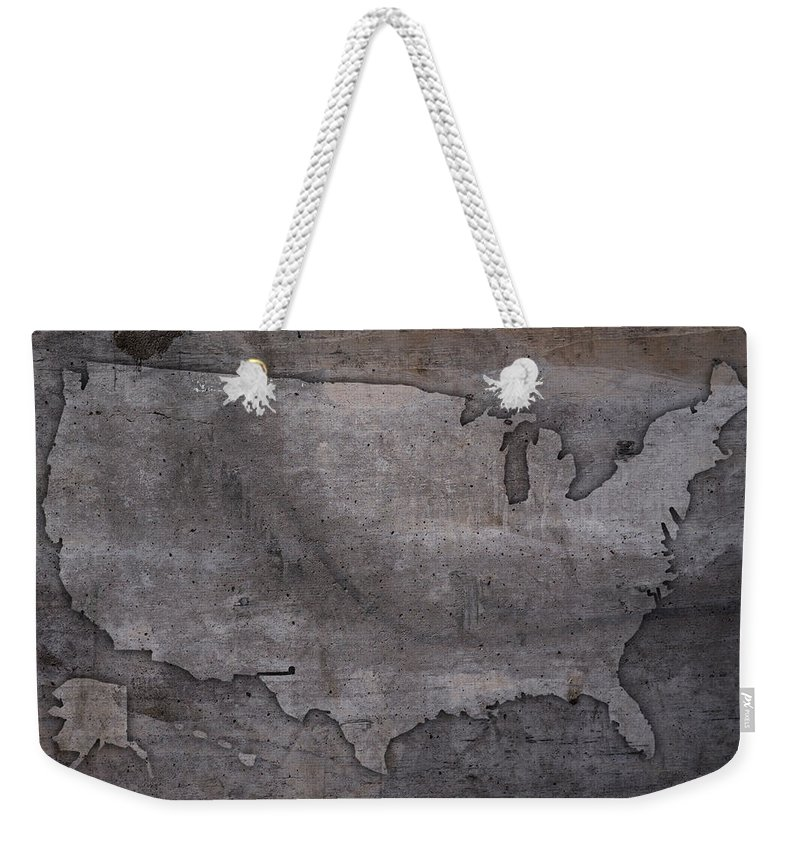 Usa Weekender Tote Bag featuring the mixed media Usa Map Outline On Concrete Wall Slab by Design Turnpike