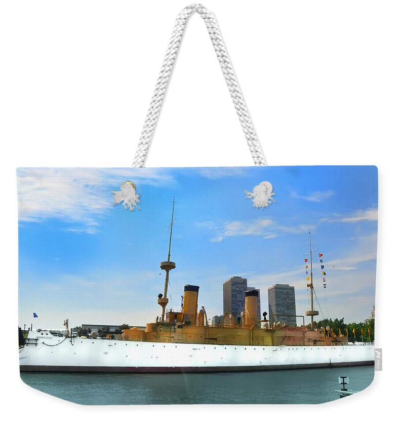 Spanish American War Weekender Tote Bag featuring the photograph Uss Olympia by Bill Cannon