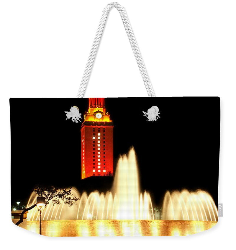Photo Weekender Tote Bag featuring the photograph Ut Tower Championship Win by Marilyn Hunt