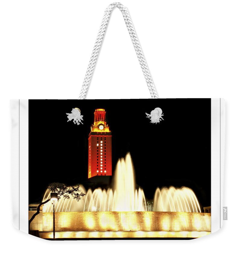 University Texas Austin Weekender Tote Bag featuring the photograph Ut Tower Poster by Marilyn Hunt