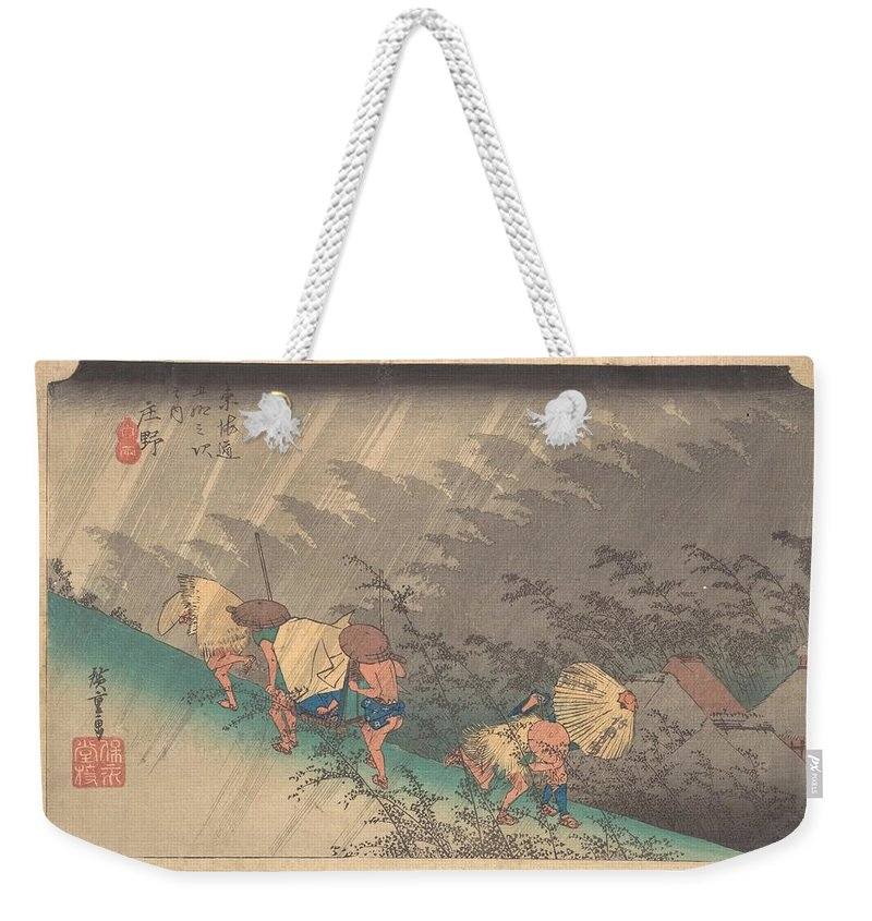 Utagawa Hiroshige  Shno Hakuuwhite Rain At Shno Weekender Tote Bag featuring the digital art Utagawa Hiroshige  Shno Hakuuwhite Rain At Shno by Mery Moon