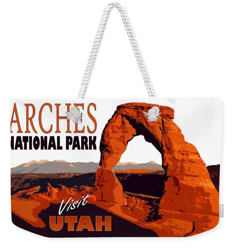 Utah Weekender Tote Bag featuring the painting Utah, Arches, National Park by Long Shot