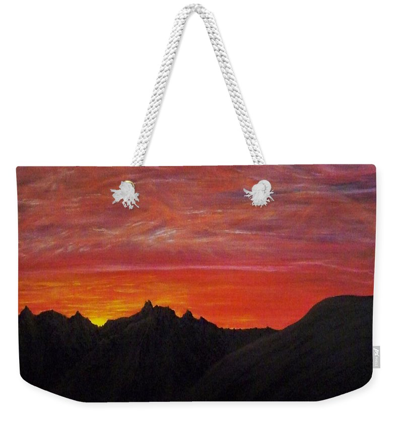 Sunset Weekender Tote Bag featuring the painting Utah Sunset by Michael Cuozzo