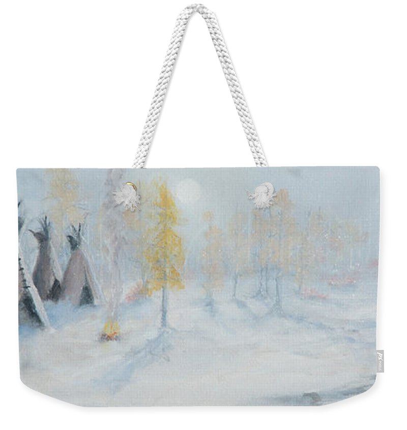 Tepee Weekender Tote Bag featuring the painting Ute Winter Camp by Jerry McElroy