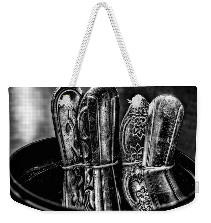 Utensils Weekender Tote Bag featuring the photograph Utensils Reflected - Bw by Christopher Holmes