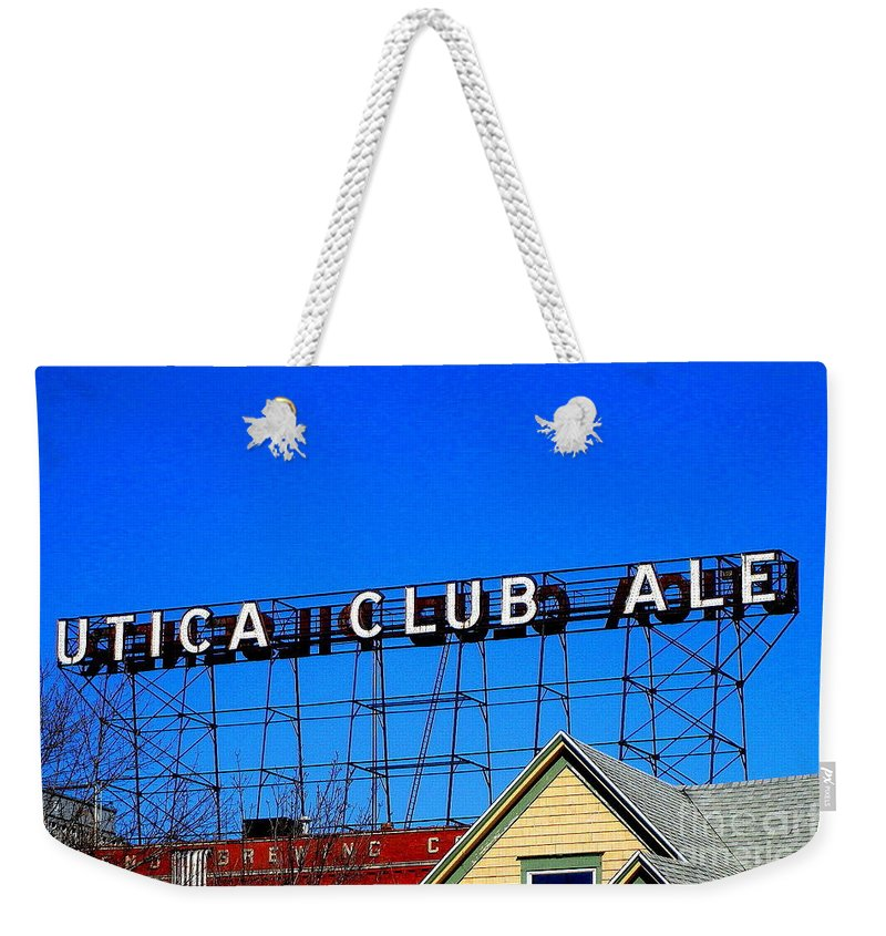 Utica Club Ale Weekender Tote Bag featuring the photograph Utica Club Ale West End Brewery by Peter Gumaer Ogden