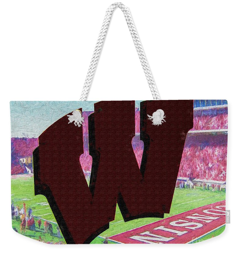 Wisconsin Weekender Tote Bag featuring the digital art Uw Game Day Poster - Oil by Tommy Anderson