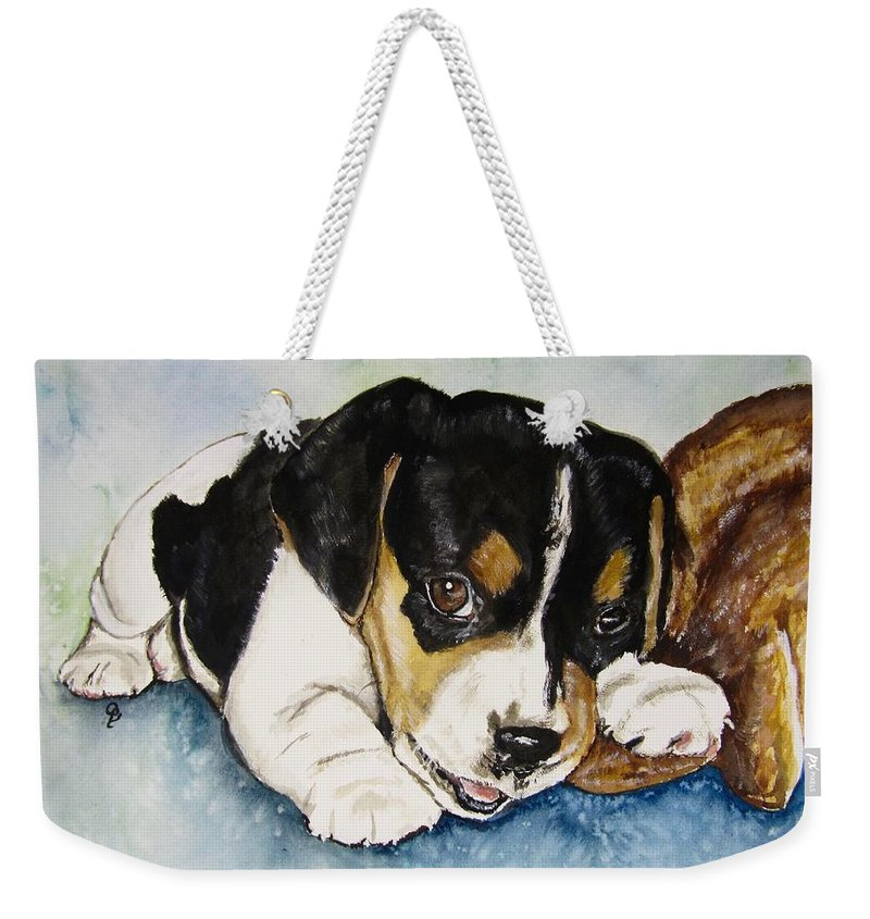 Beagle Print Weekender Tote Bag featuring the painting Uzi by Carol Blackhurst
