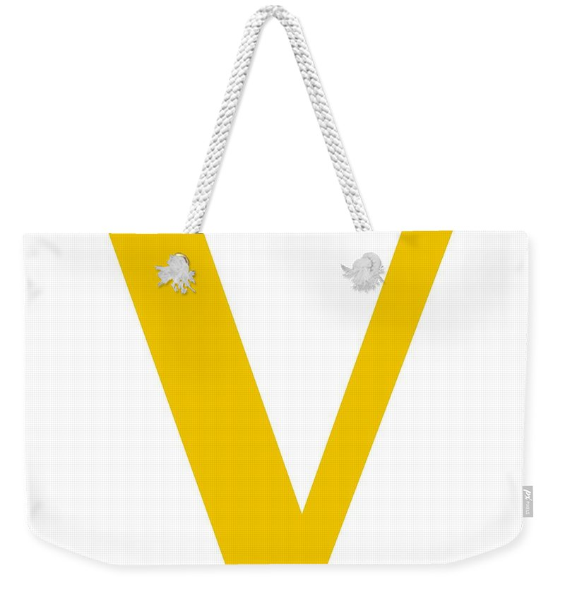 V Weekender Tote Bag featuring the digital art V In Mustard Typewriter Style by Custom Home Fashions