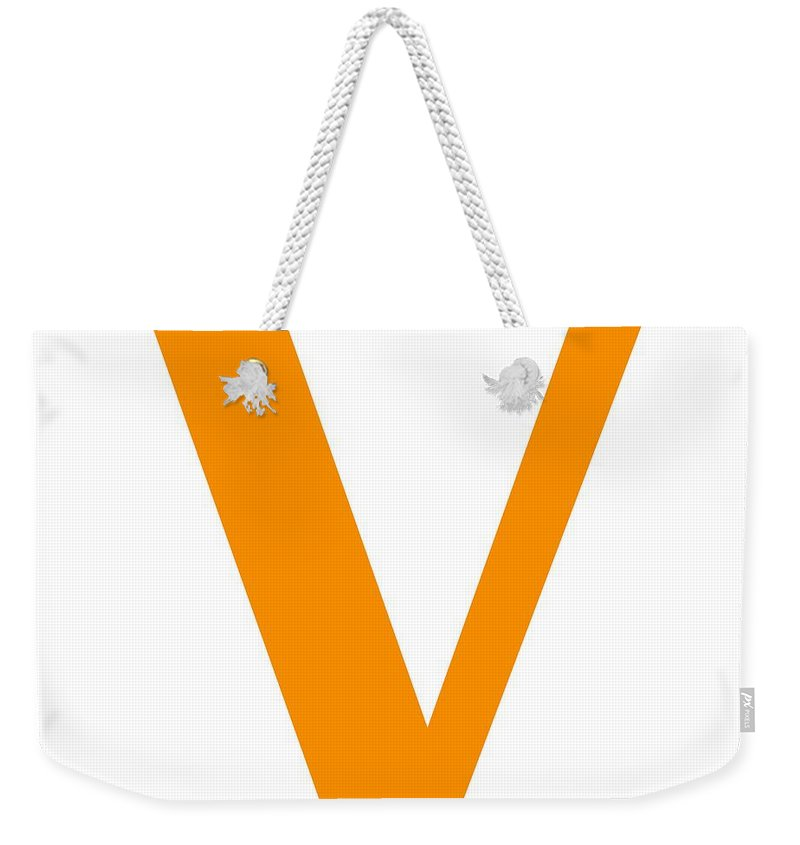 V Weekender Tote Bag featuring the digital art V In Tangerine Typewriter Style by Custom Home Fashions