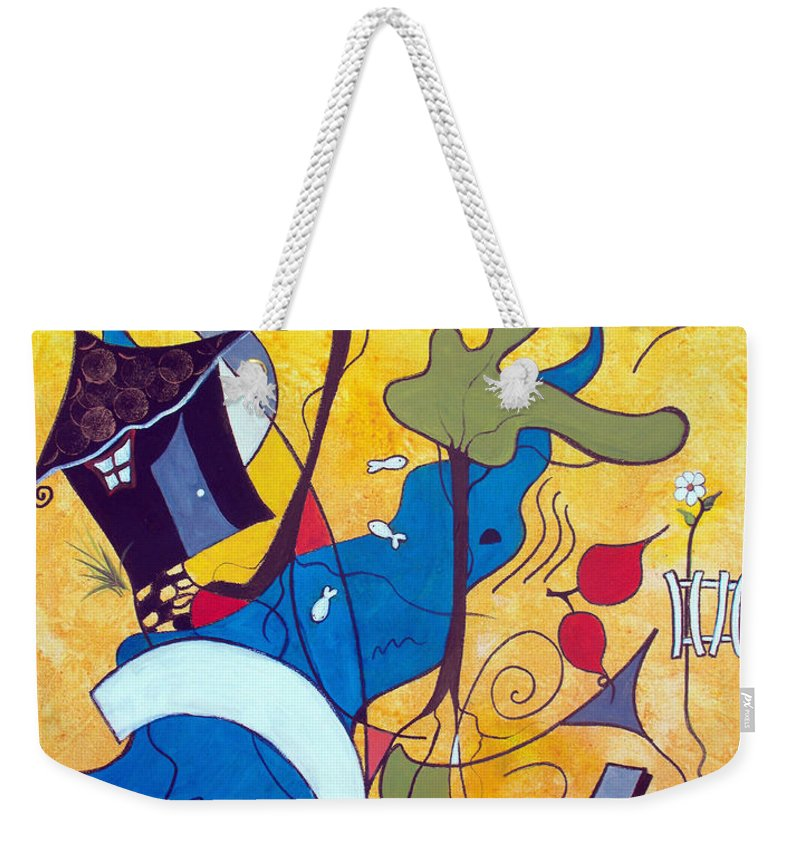Abstract Weekender Tote Bag featuring the painting Vacation Home by Ruth Palmer