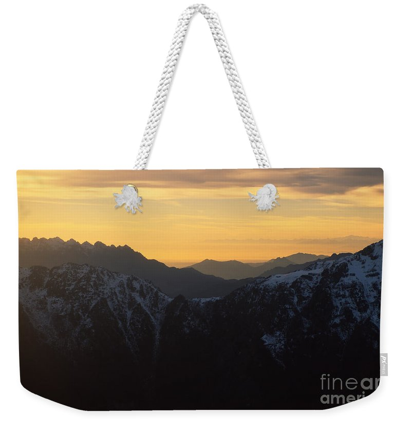 Aerial Weekender Tote Bag featuring the photograph Val Brembana by Riccardo Mottola