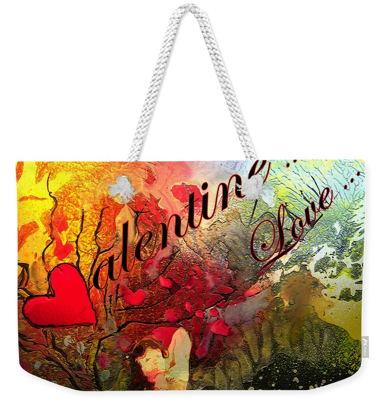 Valentine Weekender Tote Bag featuring the painting Valentine by Miki De Goodaboom
