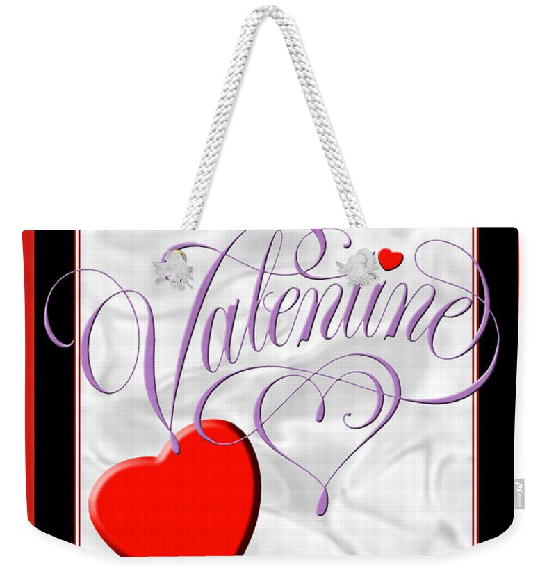 Valentine Card Weekender Tote Bag featuring the digital art Valentine Script by Melissa A Benson