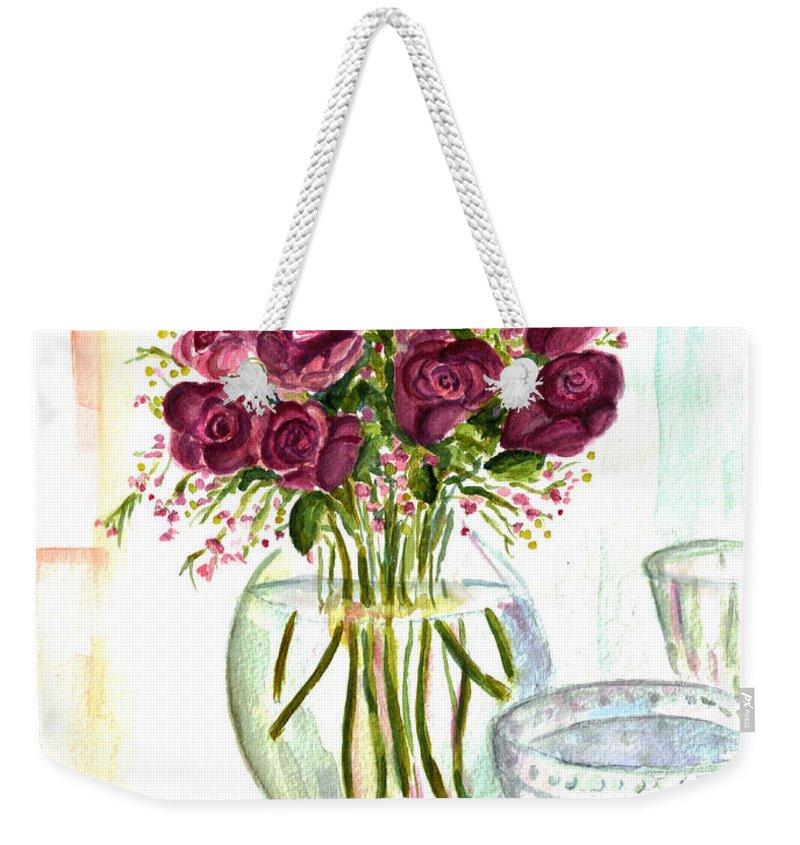 Roses Weekender Tote Bag featuring the painting Valentines Crystal Rose by Clara Sue Beym