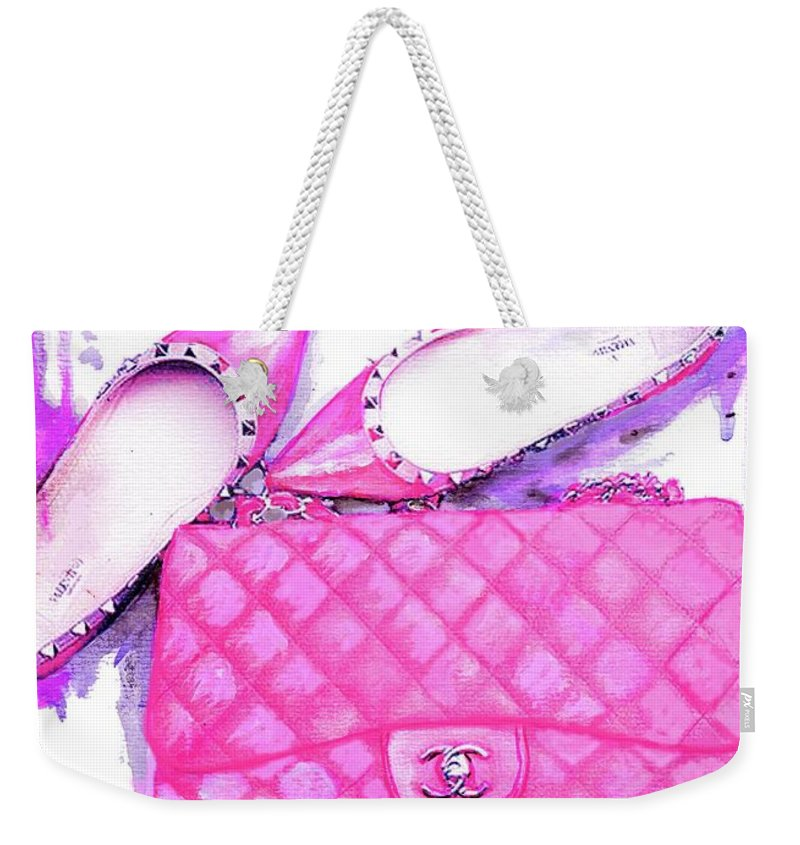 ca6bd2faf7f1 Chanel Pink Bag Weekender Tote Bag featuring the painting Valentino Shoes  And Chanel Bag Pink by