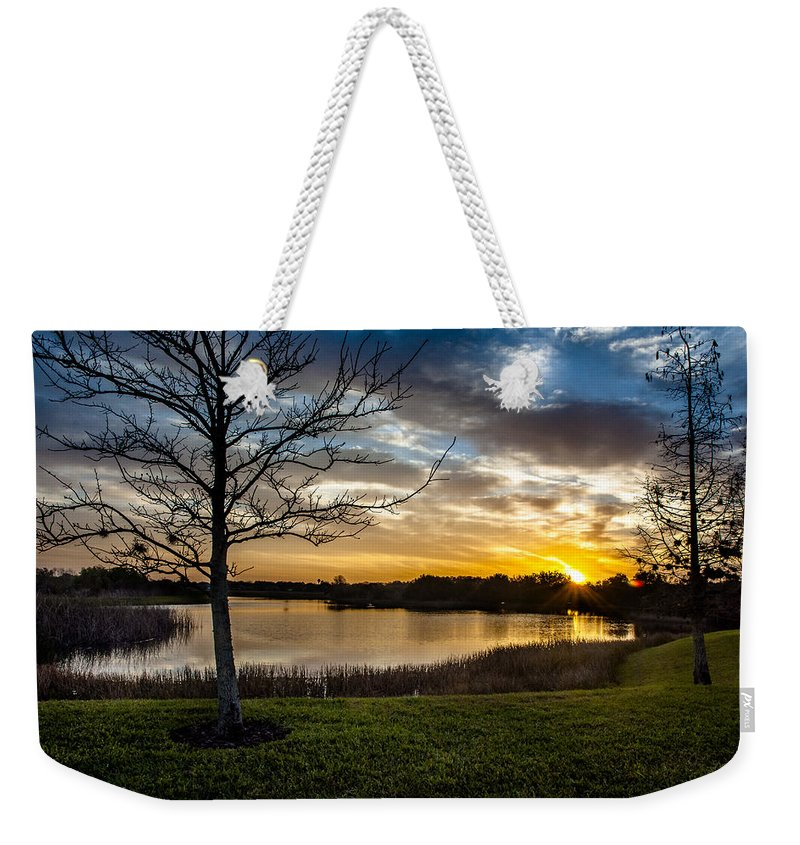 Sunrise Weekender Tote Bag featuring the photograph Valhalla Sunrise by Norman Johnson