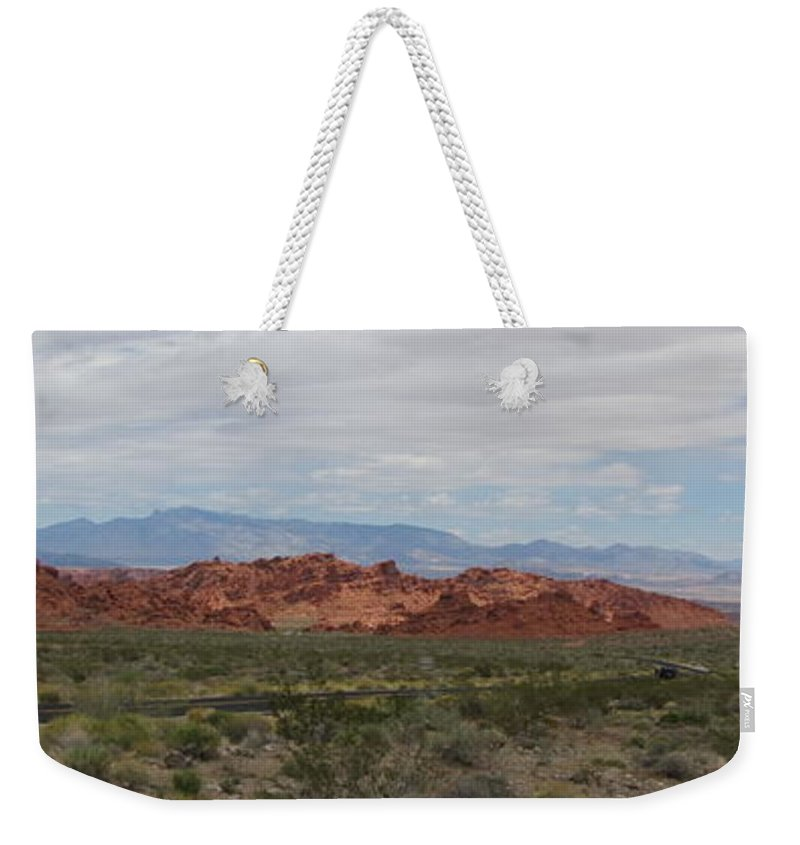 Mountain Weekender Tote Bag featuring the photograph Valley Of Fire by Kelly Mezzapelle