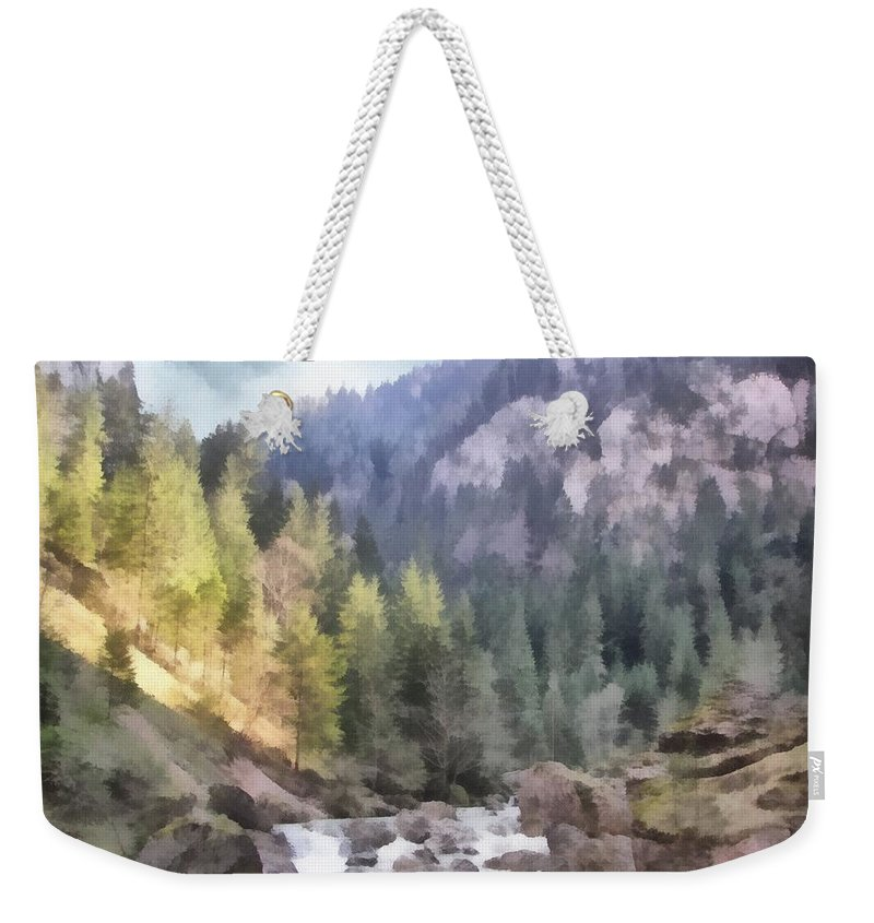 Carpathian Weekender Tote Bag featuring the painting Valley Of Light And Shadow by Jeffrey Kolker
