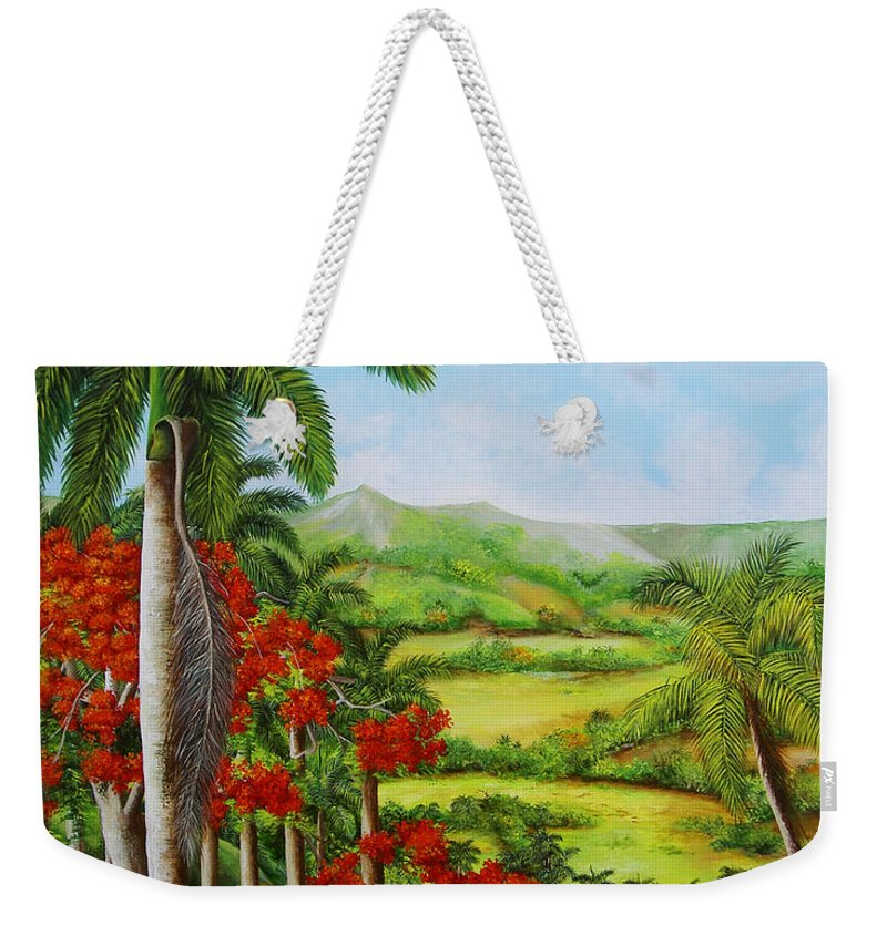 Palms Weekender Tote Bag featuring the painting Yumuri Valley by Dominica Alcantara