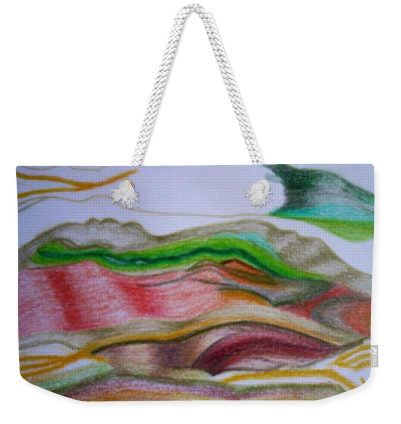 Abstract Weekender Tote Bag featuring the painting Valley Stream by Suzanne Udell Levinger