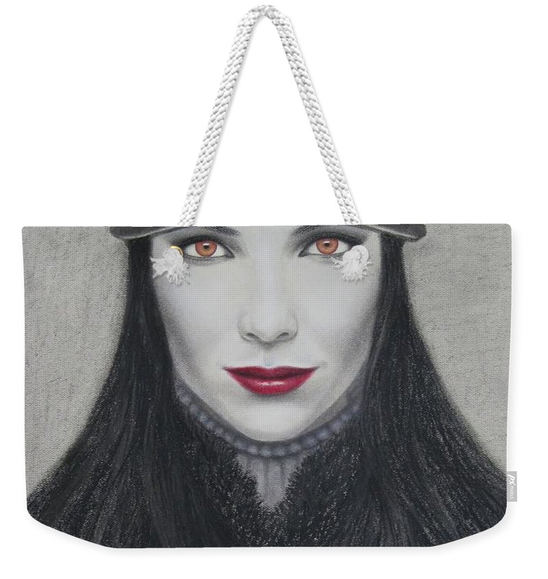 Vampire Weekender Tote Bag featuring the painting Vampire by Lynet McDonald